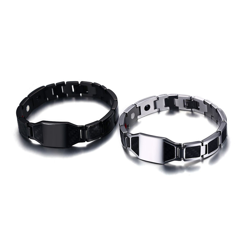 Customize Men's Black Stainless Steel Carbon Fiber and Bio Magnetic Therapy Bracelet with Engraving 12 Constellations Men Jewels