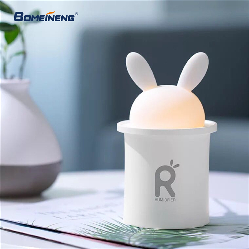 BOMEINENG 250ML White Rabbit Mini USB Humidifier Ultrasonic Aromatherapy Essential Oil Diffuser Mist Maker for Home with Light bomeineng 220ml white deer mini air humidifier essential oil diffuser aromatherapy household ultrasonic humidifier usb diffusers