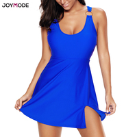 JOYMODE Swim Skirt Beach Dress Big Plus Size One Piece Swimsuit 2018 Solid Black Maillot De