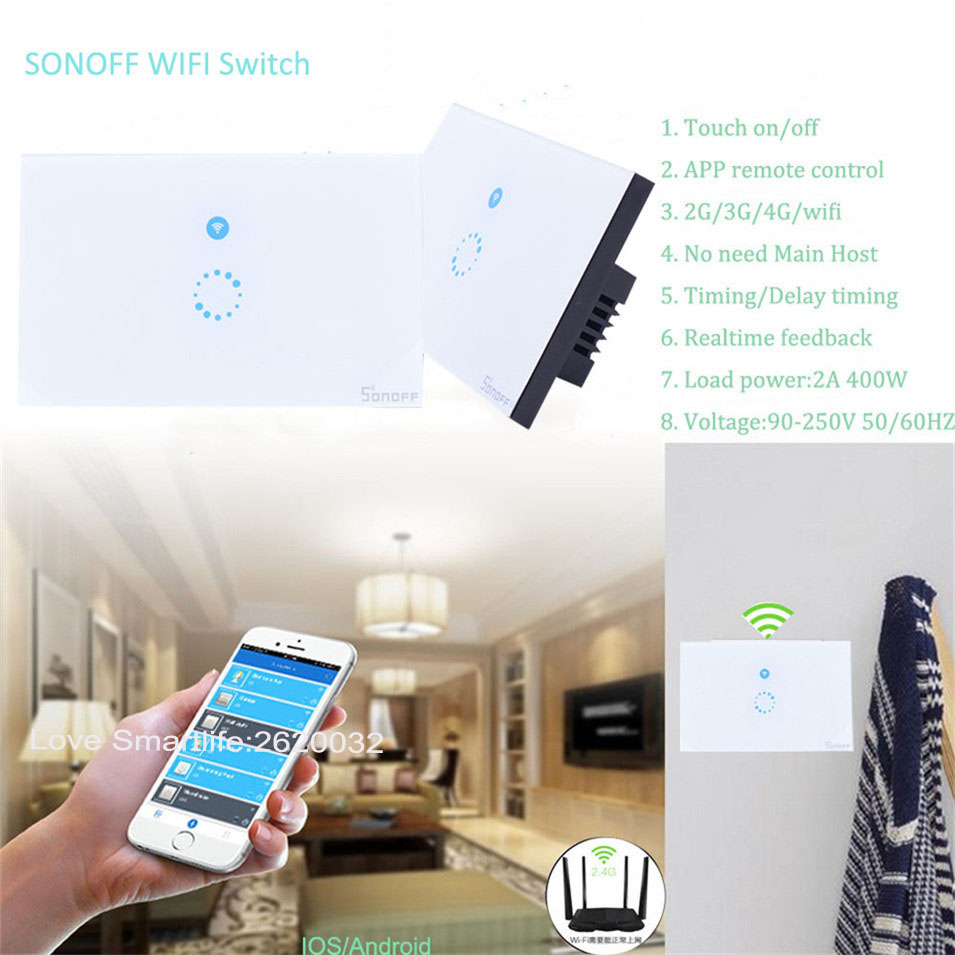 Sonoff Touch Switch Wifi Luxury Glass 1 Gang 1 Way Timing