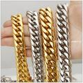 7-40inch 16/20mm Width Customized Size Fashion Stainless Steel Silver Yellow Gold  Cuban Curb Necklace/Bracelet Cool Men Jewelry