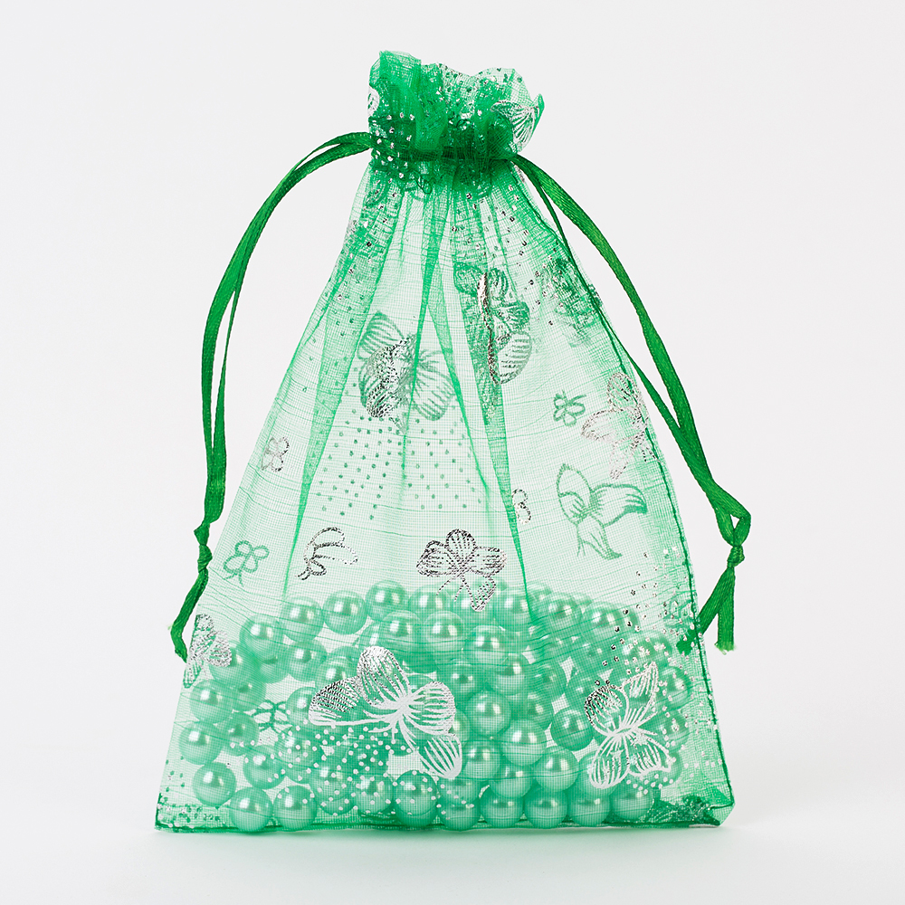 13x18cm Grass Green Organza Jewelry Bags Cheap Organza Pouches Christmas Wedding Gift Bag Jewelry Packaging Drawstring Pouch