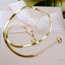 Корея чистый 14k чистое золото змеиная кожа трехмерная Любовь Кулон Змея Кость браслет ножной браслет