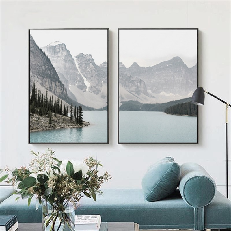 HTB1pz0nXzzuK1Rjy0Fpq6yEpFXag Nordic Landscape Mountain Lake Canvas Paintings Home Decoration Living Room Wall Art Pictures Nature Scenery Posters and Prints