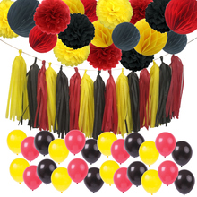 Mickey Mouse Color Birthday Decorations Party Supply Yellow Black Red Tissue Paper Pom Poms Tassel Garland Mickey Garland Banner exclusive design miss mouse black red mouse pattern bare shoulder top mouse red pom pom short with matching accessories