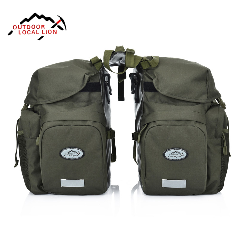 Outdoor 50L Ride Bag Cycling Pack Bike Bags Bike Rack Sport Pannier Rear Seat Trunk Bags Waterproof Road Bicycle Bag Rain Cover coolchange multi function bicycle rear seat trunk bag bike luggage package rear carrier pannier eva shell with rain cover