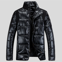 Stand Collar Pu Fabric Winter Coat Men
