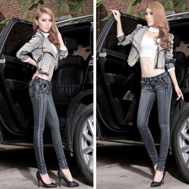 2016 запад Мода старинные ковбой джинсовые женщины карандаш брюки поддельные молнии темно-серый низкой талией тощий упругие женские джинсы 2D88