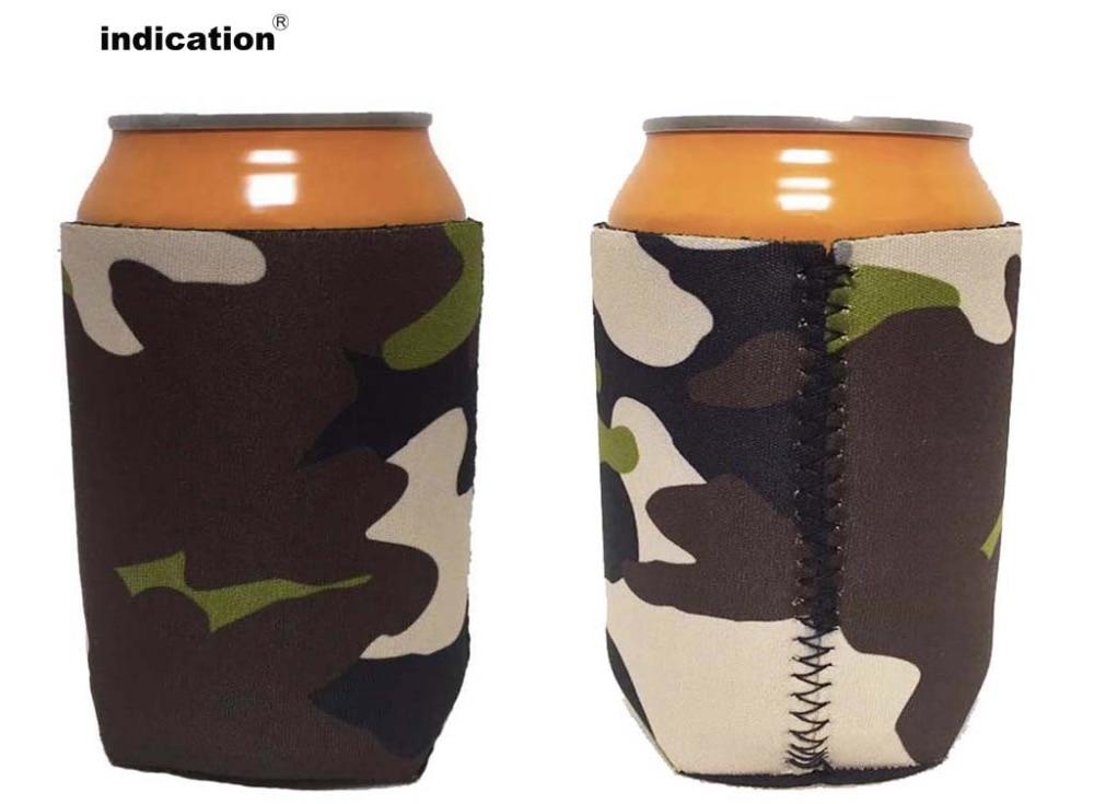 Зеленый камуфляж неопрена stubby держателей малый заказ изолированные короткие охладитель для Еда вина и банки Ресторан