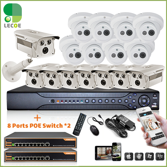 CCTV 24CH Security Outdoor POE System with 24*1080P 2 SATA NVR +16pcs 720P Outdoor POE Cameras+ 2pcs 9 Port PoE Switch+2TB HDD