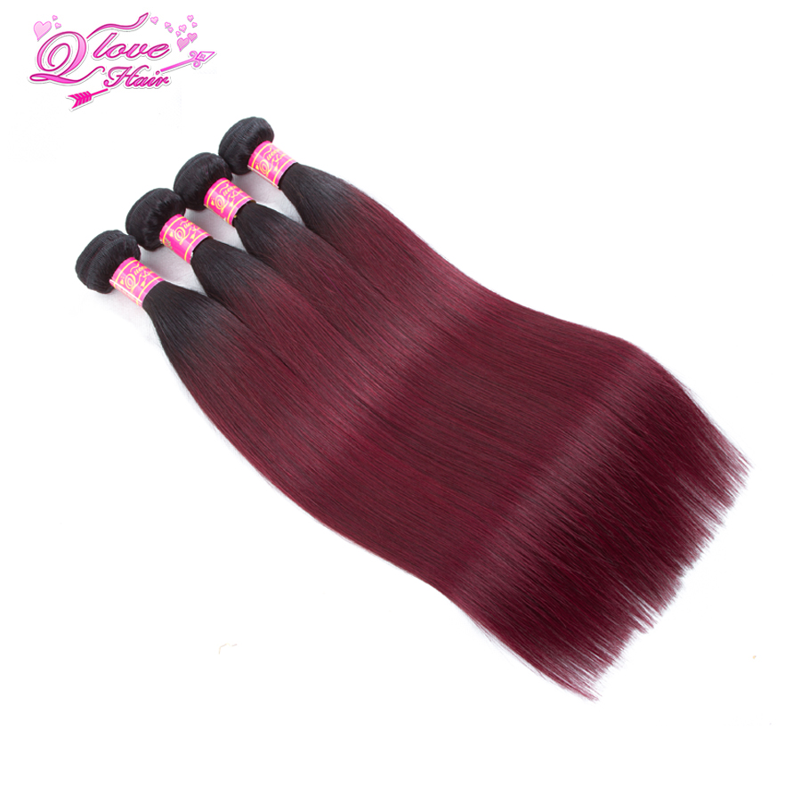 Queen Love Hair Pre-Colored Ombre Malaysian Hair Straight Wave Human Hair Weave Bundle 1B/99J 4 Piece No Remy Hair Extensions
