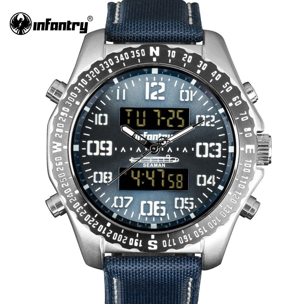 INFANTRY Sport Watch 3ATM Quartz Digital LCD Dual Time Date Day Alarm Chronograph Nylon Band Strap Outdoor Men Wrist Watch