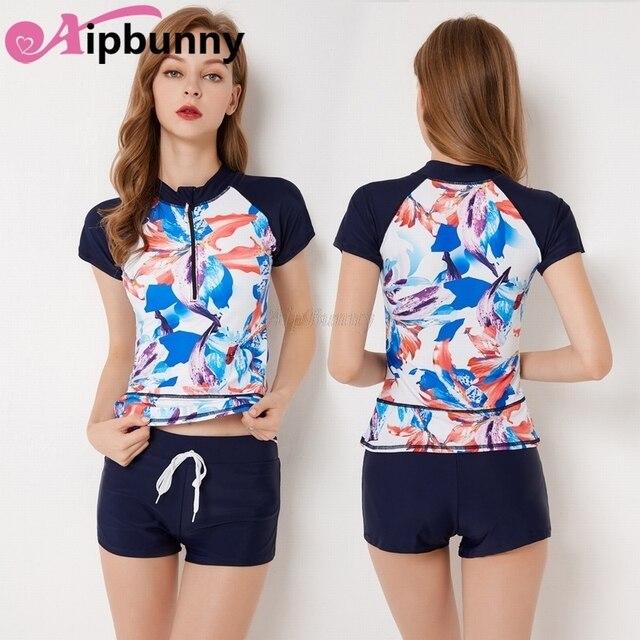 4e283c14d4 4XL Plus Size Short Sleeves   BoyShorts Women s 2 Pcs Set Bikini Swimwear  Beach Bath Wear Rash Guards Wear Lady Girls Swimsuit
