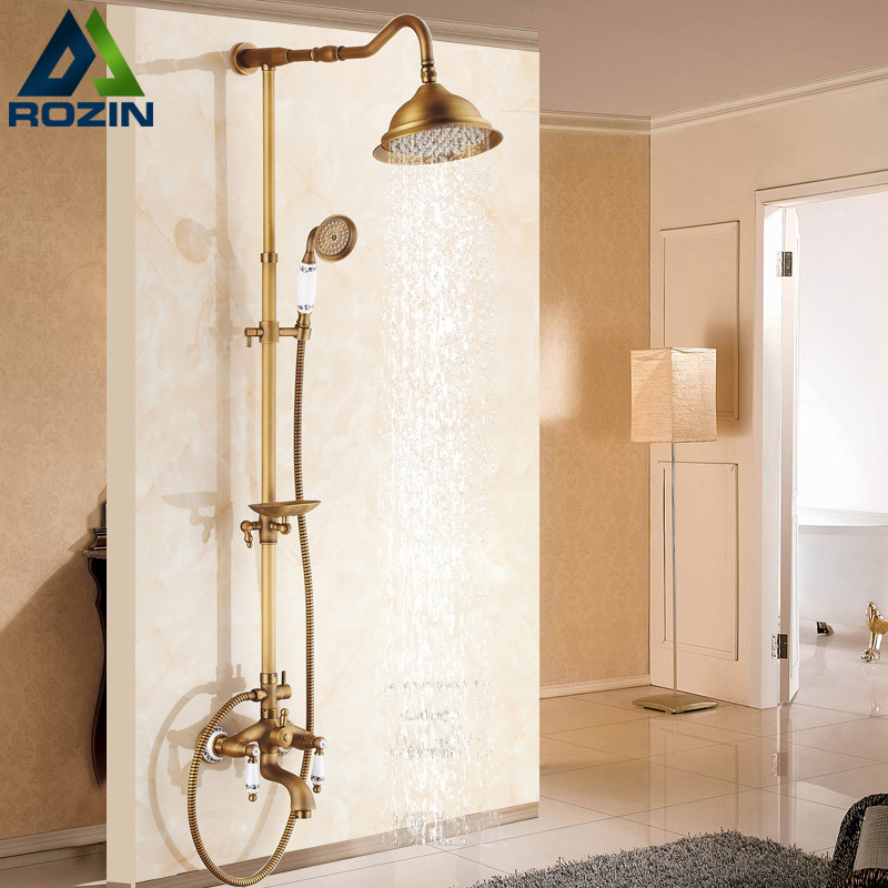 Newly Wall Mount Outdoor 8 Rain Shower Faucet Set Antique Brass Dual Handles Swivel Tub Spout Bath Shower Mixers + Soap Dish shower faucet wall mounted antique brass bath tap swivel tub filler ceramic style lift sliding bar with soap dish mixer hj 67040