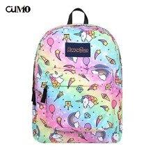 Ou Mo brand feminina backpack Mini Bag Women man laptop anti theft Cartoon unicorn middle School student Schoolbag