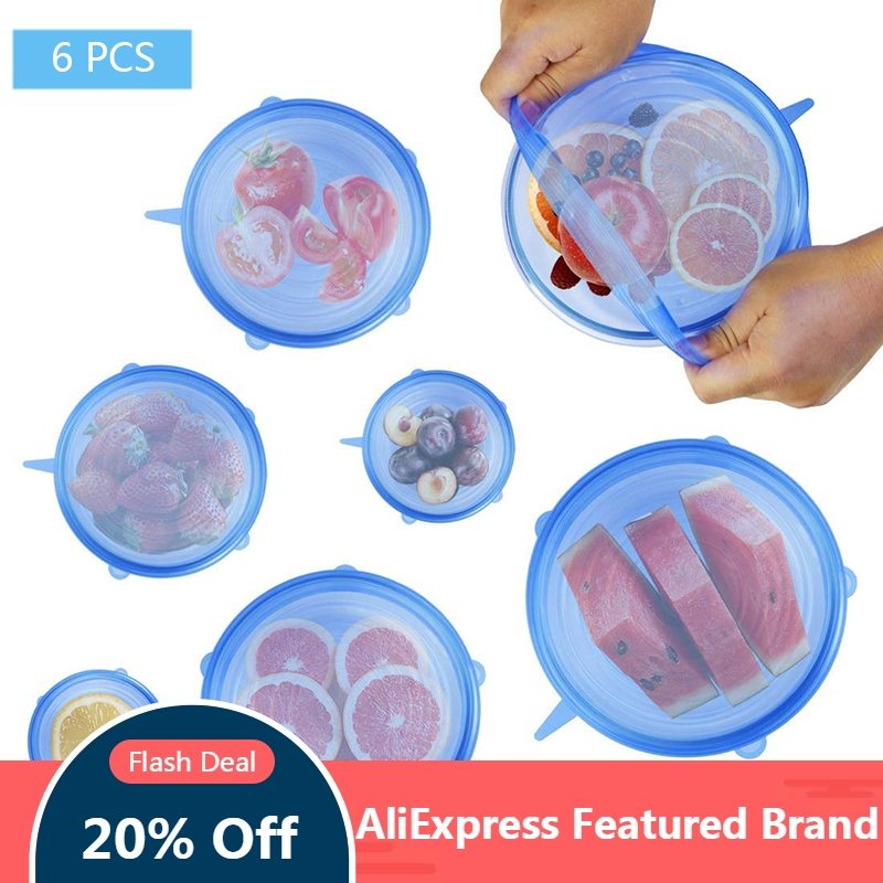 Cookware Wrap-Cover Lids Seal-Bowl Kitchen Silicone Stretch Reusable 6pcs Airtight Fresh