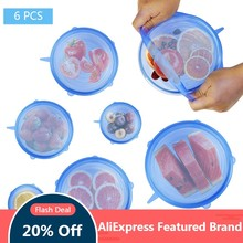 6 Pcs Silicone Stretch Lids Reusable Airtight Food Wrap Covers Keeping Fresh Seal Bowl Stretchy Wrap Cover Kitchen Cookware(China)