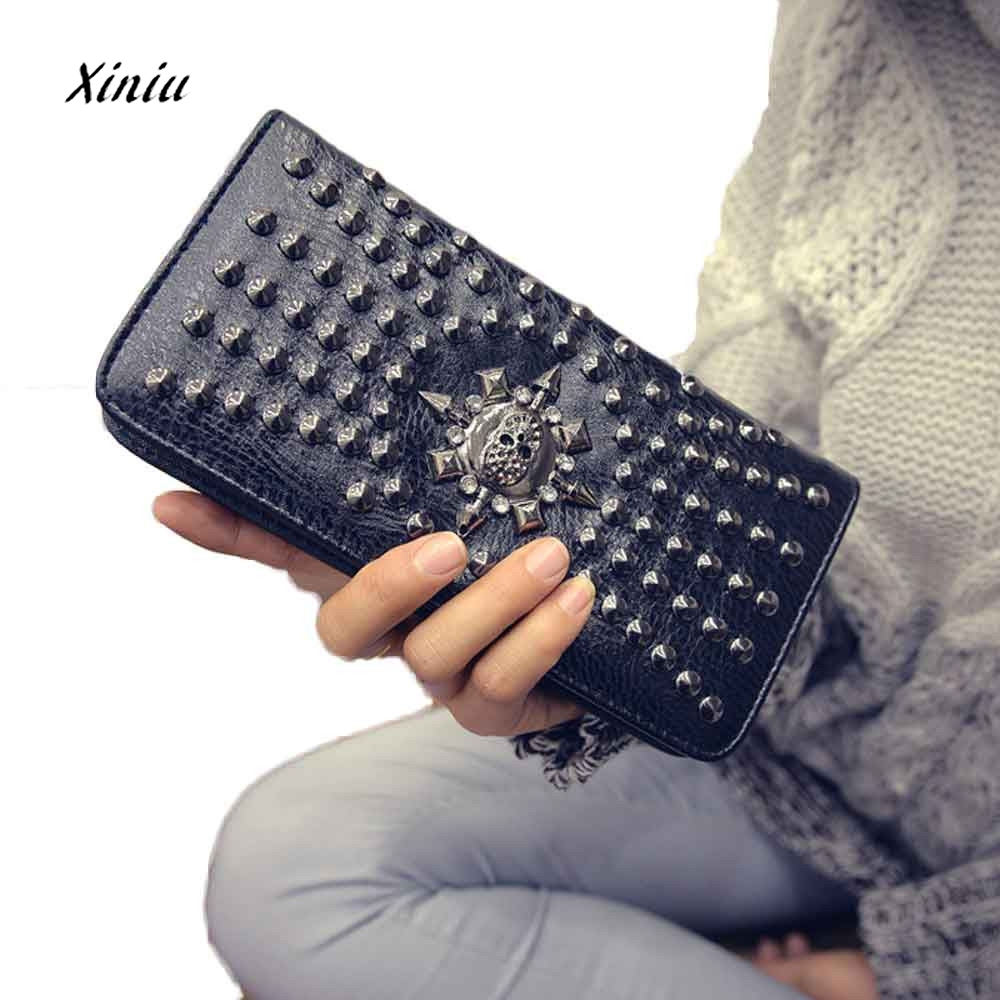 New Fashion Lady Women Leather Clutch Wallet Long Card Skull Punk Rivet Wallet Card Holder Purse Designer Handbag Dropship 2017 hot selling women punk wallet high grade fashion vintage bag wallets skull head rivet purse handbag brand long purse new