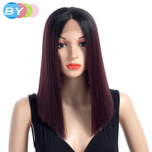 BY Straight Synthetic Wigs With Bangs For Women Bob Wig Heat Resistant Bobo Hairstyle Cosplay wigs T1B-99J 8 Colors(China)