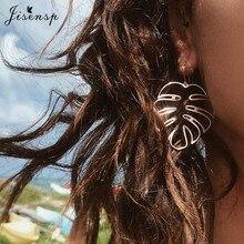 Jisensp Bohemian Summer Beach Palm Leaf Studs Earrings Fashi