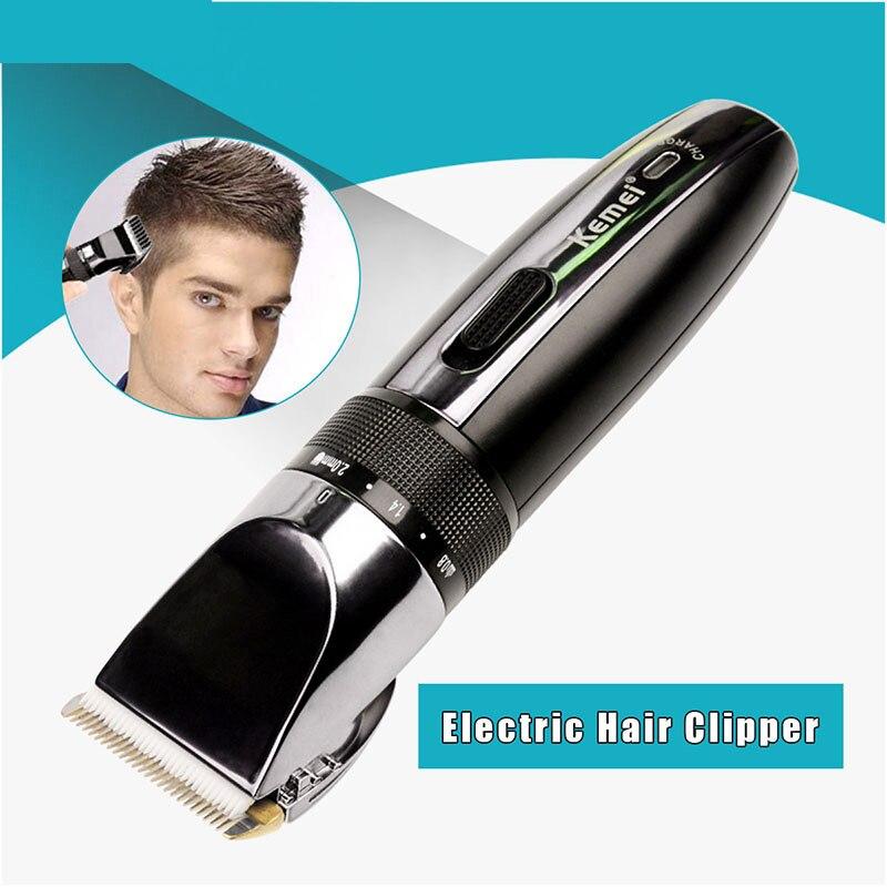 Kemei tondeuse à cheveux électrique Rechargeable tondeuse rasoir sans fil 0.8-2.0mm réglable à faible bruit pour adulte/enfant 43