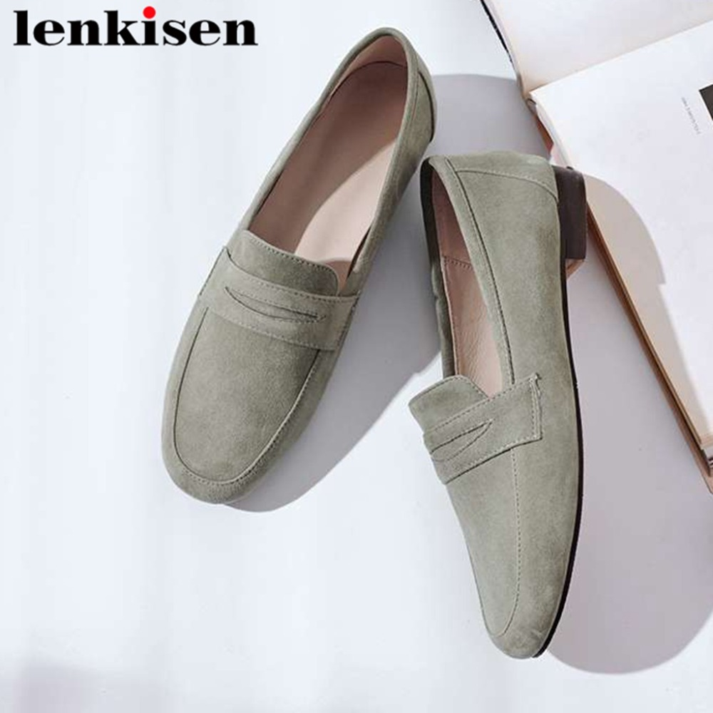 2019 hand sewn leather loafers ballet shoes vocation comfortable genuine leather slip on square toe solid