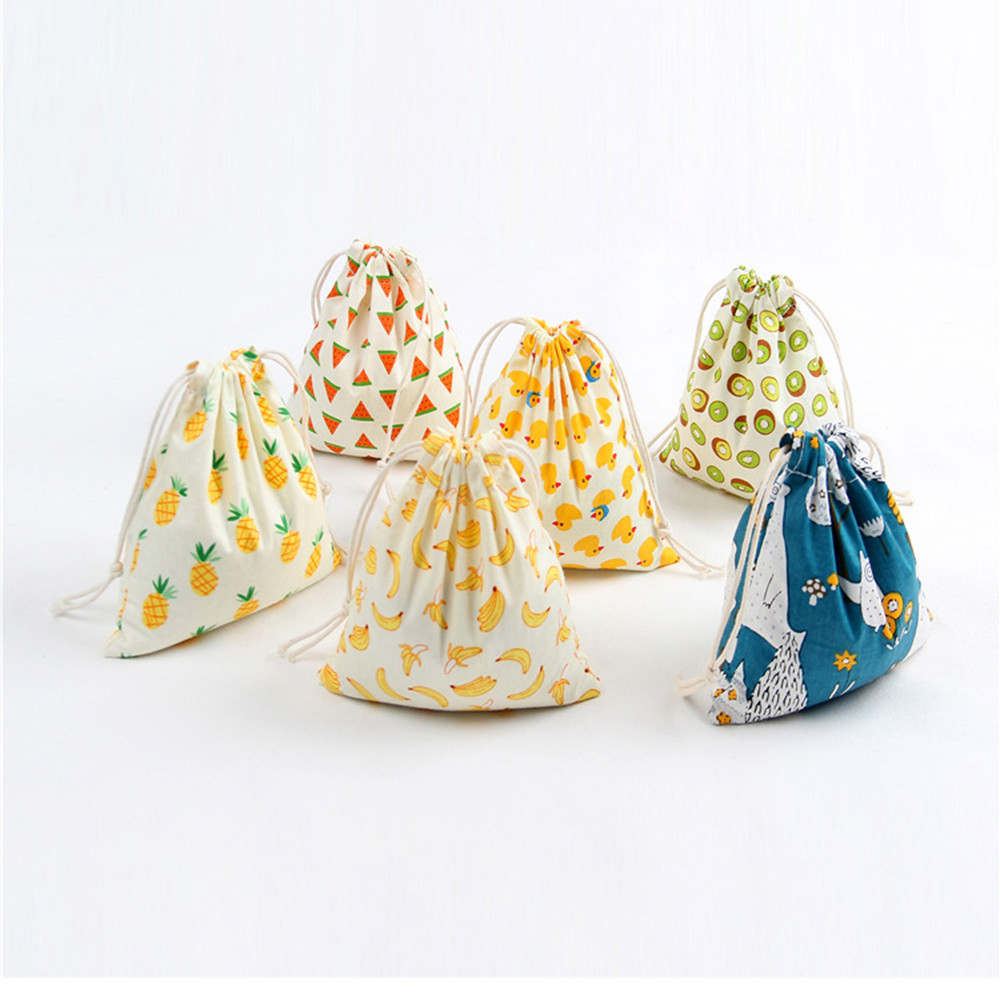 Drawstring Bag Women 3 Size Small Medium Large Unisex Cartoon Printing Linen Drawstring Bag Travel Backpack Packet Size