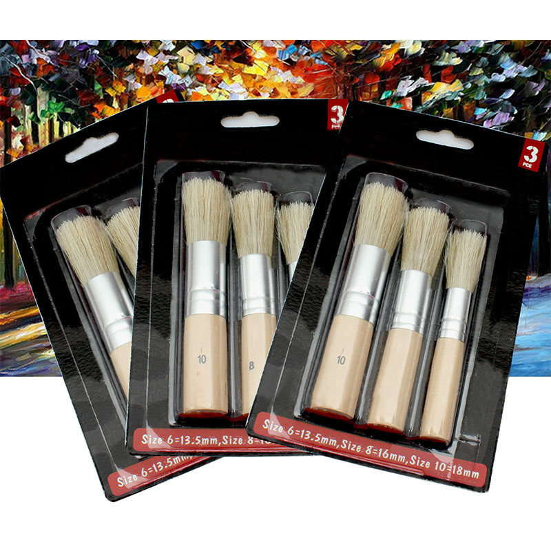 3Pcs/Set Wooden Stencil Brush Chalk Paint Natural Pure Hog Bristle Brush Round Acrylic Watercolor Oil Painting Detail Brushes