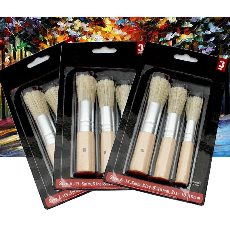3Pcs/Set Wooden Stencil Brush Chalk Paint Natural Pure Hog Bristle Brush Round Acrylic Watercolor Oil Painting Detail Brushes
