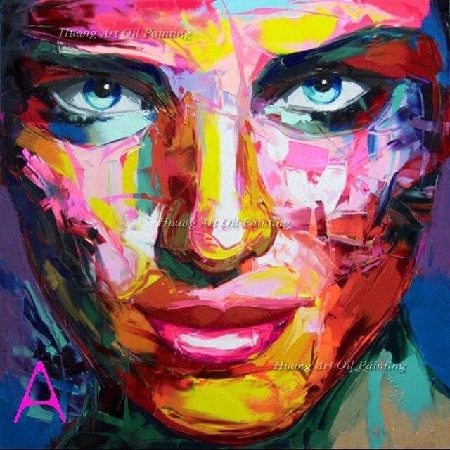Très Peint à la main Palette Couteau Peinture Abstraite Homme et Femme  KB78