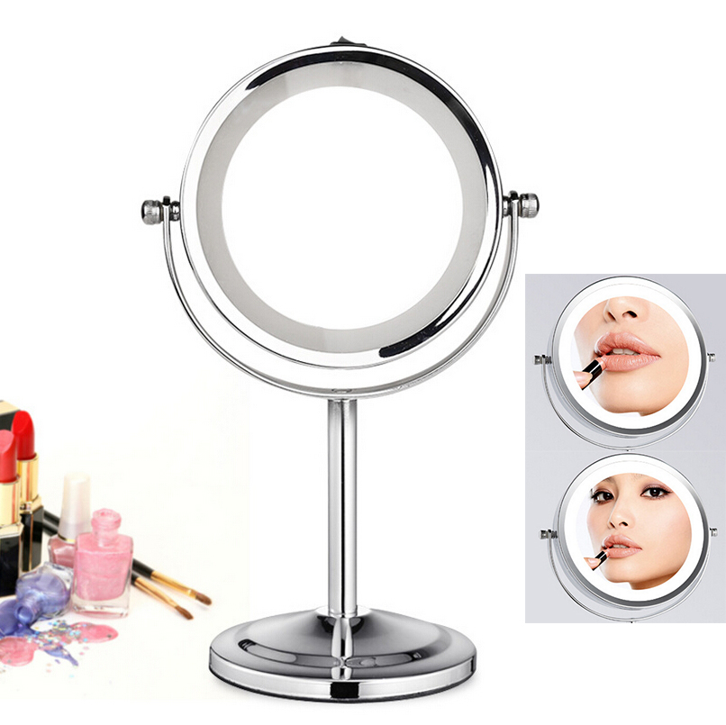 Beauty & Health Beautiful 5inch Desktop Makeup Mirror 2-face Metal Mirror 3x Magnifying Cosmetic Mirror Led Lamp Countertop Mirror Diversified Latest Designs Skin Care Tool