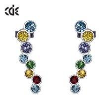 CDE 925 пробы, серебряные серьги, украшенные кристаллами Swarovski, круглые серьги-гвоздики, модные серьги, ювелирное изделие для женщин, подарок