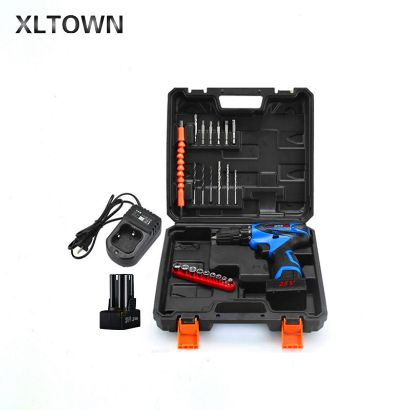 Xltown 25V plastic box Multi-function Rechargeable 2* Lithium Battery Electric Drill Bit Home Cordless Electric Screwdriver xltown 25v two speed 2 battery lithium battery electric screwdriver with a plastic box packaging 27pcs drill bit electric drill