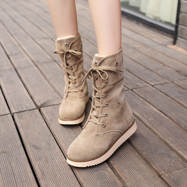 496ea84b2 US $39.87 |Women Snow Boots Female Suede Lace Up Winter Mid Calf High Boots  Ladies Cross Tied beige Bottes-in Mid-Calf Boots from Shoes on ...