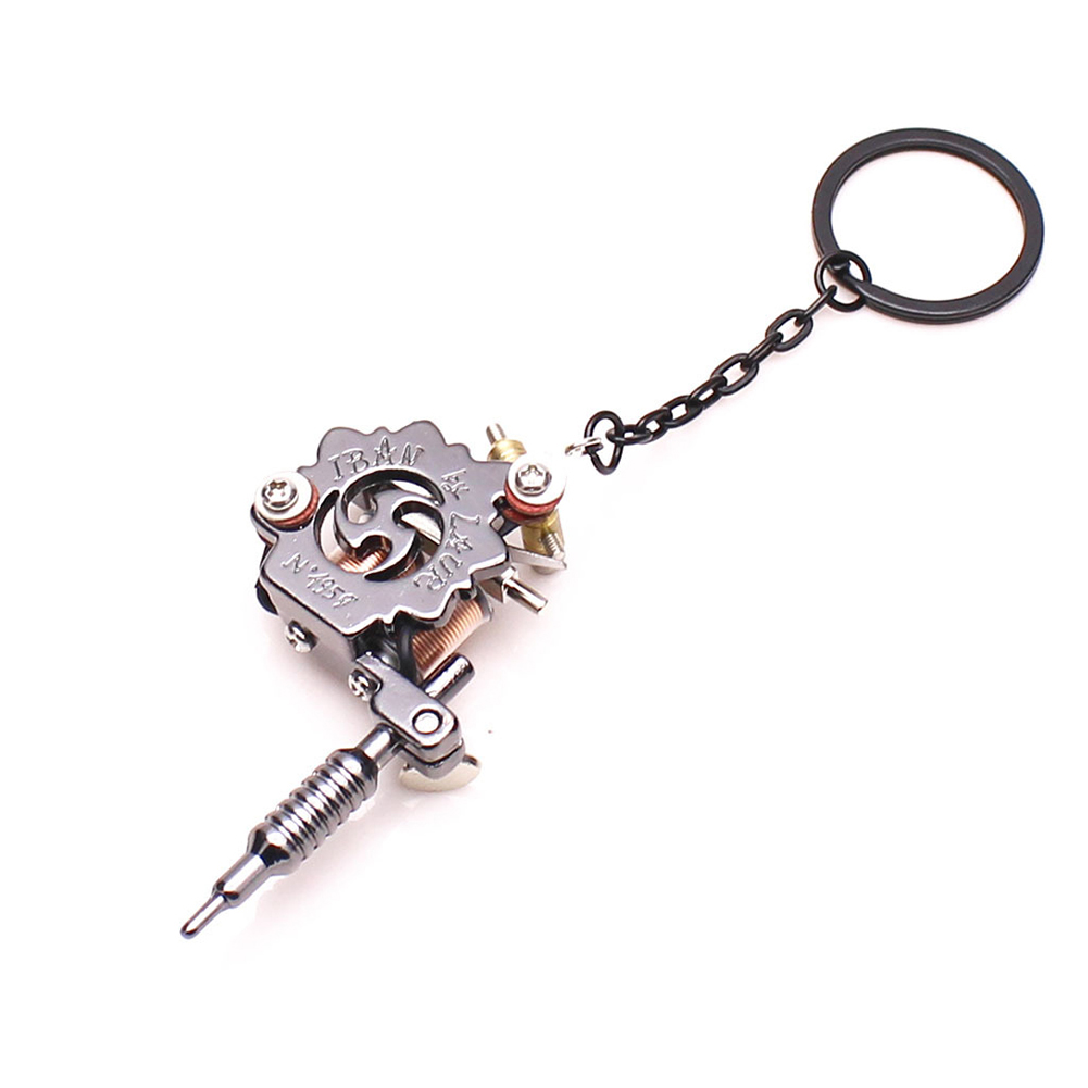 Punk Keychain Portable Mini Tattoo Machine Pendant Key Chain Keyrings Ring Earrings Necklace Ornament For Men Women Gift Crafts