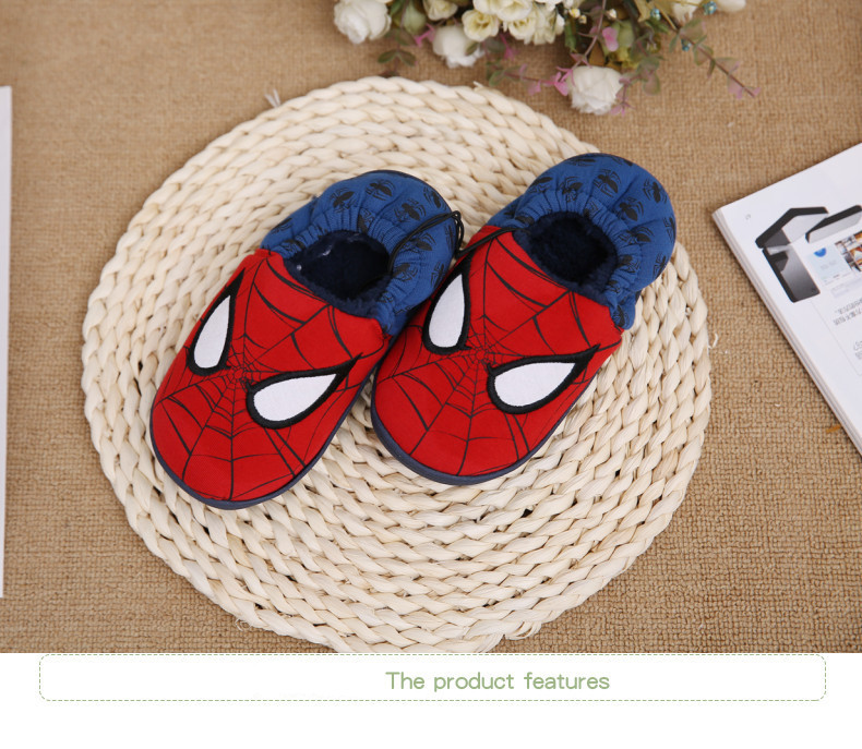 Disney slippers winter todder spiderman home slippers baby boy warm plush shoes cartoon animation floor pantuflas terlik (2)
