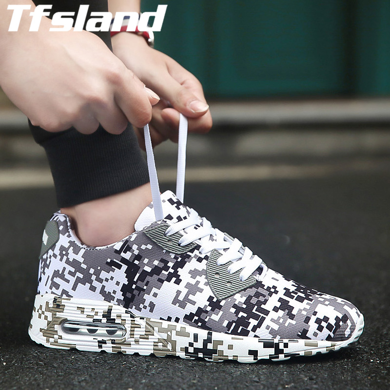Tfsland Unisex Camouflage Air Cushion Shoes Men Women Height Increasing Canvas Shoes Comfortable Footwear Running Shoes Sneakers