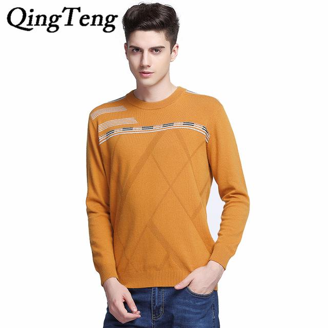 QingTeng 2016 New Outono Inverno Suéter de Cashmere Roupas Masculinas Da Marca de Moda Listrado O-pescoço Homens Pullover Blusas De Lã de Natal