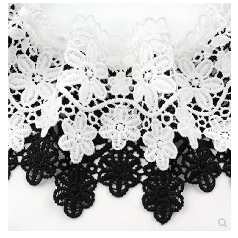 9cm wide lace accessories thick lace black white water soluble embroidery clothes hem skirt decoration hollow fabric in Lace from Home Garden