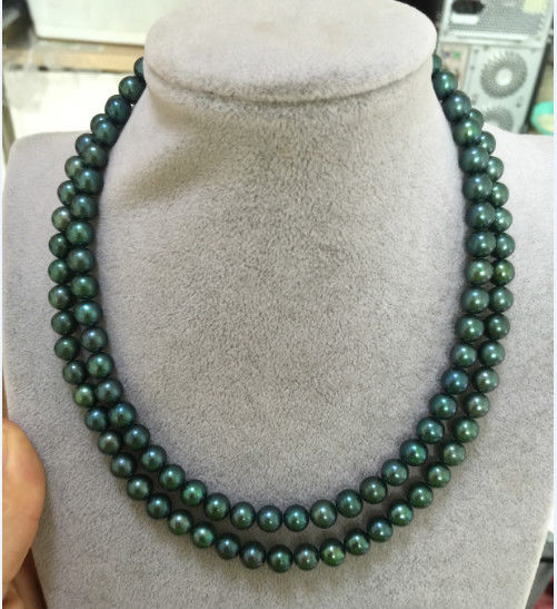 Double Strands9 10mm Tahitian Peacock Green Pearl Necklace