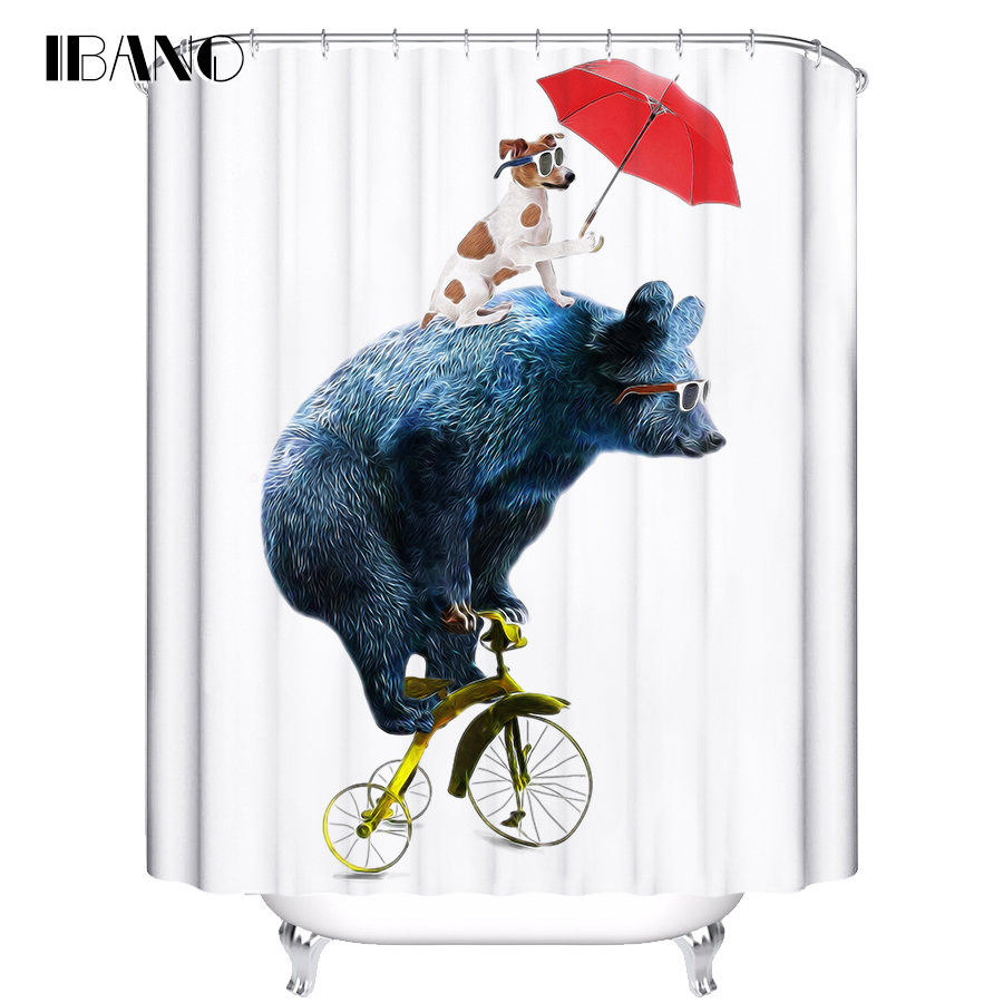 IBANO Cartoon Bear Shower Curtain Customized Bath Curtain Waterproof Polyester Fabric Shower Curtain For The Bathroom in Shower Curtains from Home Garden