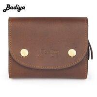 Badiya Vintage Men Wallet Genuine Leather Hasp Mini Clutch Purse Male High Quality Short Wallet Zipper