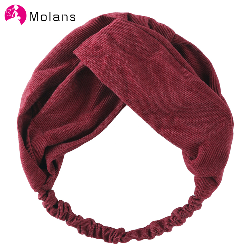 Molans Solid Knot Corduroy Hairbands Female Cross Knotted Elastic Headbands 2019 Arbitrarily Matched Fashion Hair Accessories