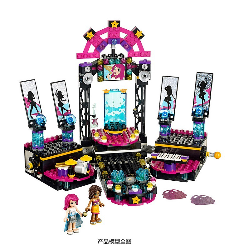 BELA 10406 Livi Pop Star Stage Building Blocks Compatible LegoINGly Friends 41105 for girl 10406 girls pop star show stage building blocks set 448pcs assemble toys compatible with blocks for girls gift
