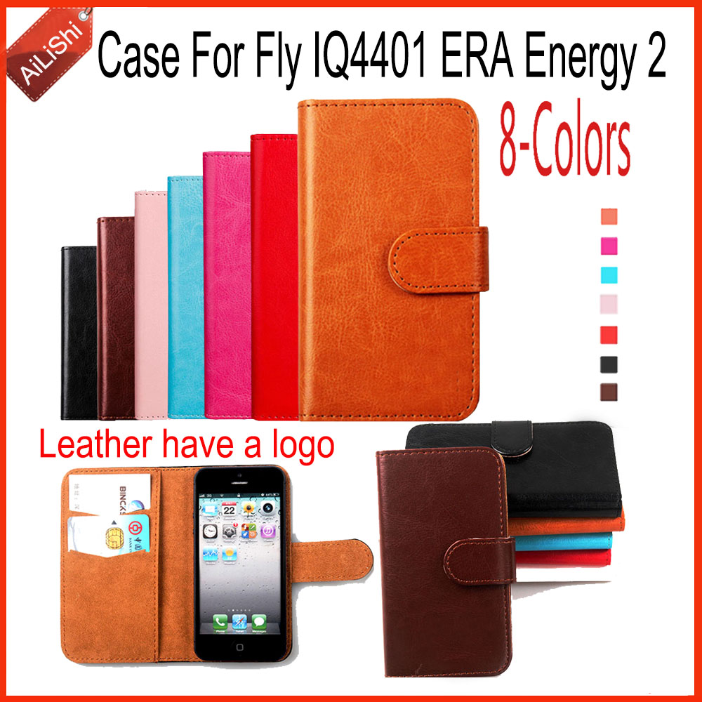 AiLiShi Fashion PU Leather Case Book Flip For Fly IQ4401 ERA Energy 2 Case Wallet Protective Cover Skin 8-Colors With Card Slot