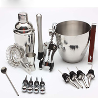 Wine Cocktail Mixing Bar Set Bartender Kit Essential Bar ware 750ml 550ml Stainless Steel Shaker Ice Bucket Double Sided Jigger