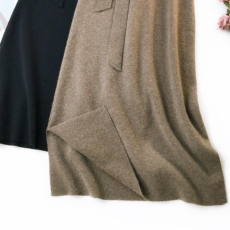 344 water velvet knit skirt women 2018 autumn and winter new women's long section high waist bag hip split A skirts 4
