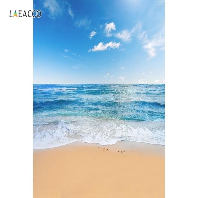 Laeacco Estate Cielo Blu Mare Spiaggia Onde Photography Scenico