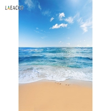 Laeacco Summer Blue Sky Sea Beach Waves Scenic Photography Backgrounds Vinyl Customized Photographic Backdrops For Photo Studio