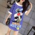 Nice nice mujeres dress historieta impresa vestidos de verano vestidos de las señoras cómodas lindas cm9009 recta dress mini dress vestido de tirantes